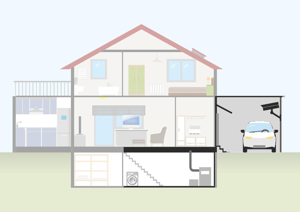 Heizungsraum und Garage im Einfamilienhaus